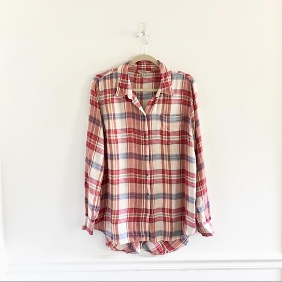 a968e644 Lucky Brand Tops - Lucky Brand Plaid Button Split Back Flannel